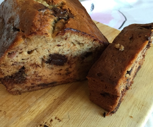 This 5 star recipe will make a one huge banana bread fit for a king. I like to split it into two pans and share the wealth.